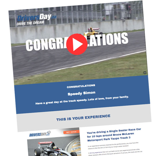 Single Seater Drive Video Voucher Pukekohe